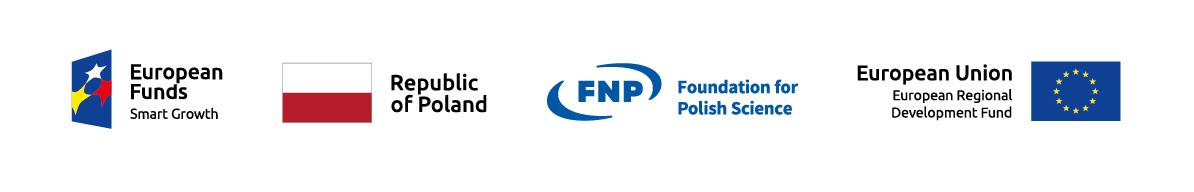 logotypes: European funds, Republic of Poland, Foundation for Poish Science, European Union