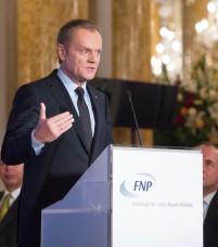 Premier Donald Tusk podczas przemówienia